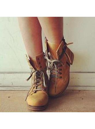 Dámské PU Placatý podpatek Boty Bez Podpatku Uzavřená Špička Boty S Šněrovací obuv
