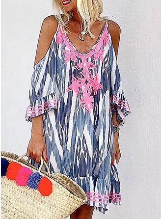 Lace/Print 3/4 Sleeves/Cold Shoulder Sleeve Shift Knee Length Casual/Vacation Dresses