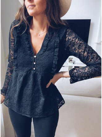 Solid Lace V-Neck Long Sleeves Button Up Casual Elegant Blouses