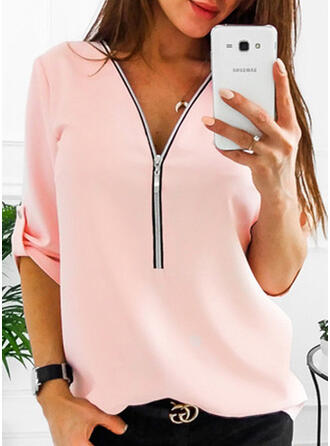 Polyester V Neck Plain 1/2 Sleeves Casual Blouses