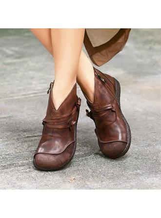 Női PU Lapos sarok Csizma -Val Cipzár cipő