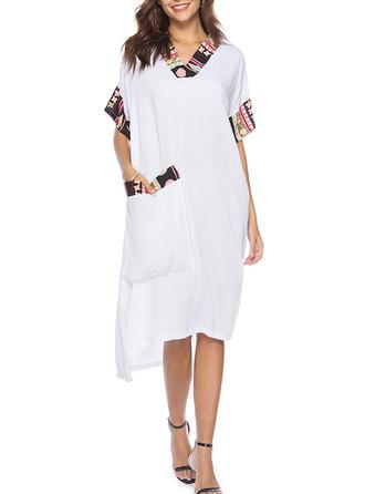 Print V-neck Asymmetrical Shift Dress