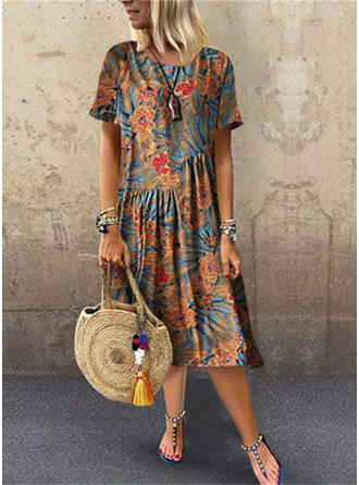 Print/Floral Short Sleeves Shift Midi Casual Dresses