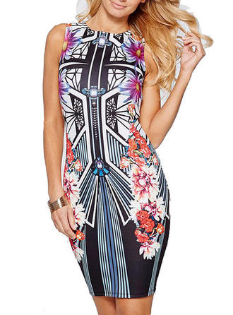 Print Sleeveless Bodycon Above Knee Casual Dresses