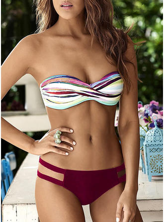 Bandeau Triangle Low Waist Strapless Sexy Bikinis Swimsuits