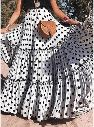 Polyester Polka prik Gulvlængde Plisseret Nederdele Flared Nederdele A-Line Nederdele