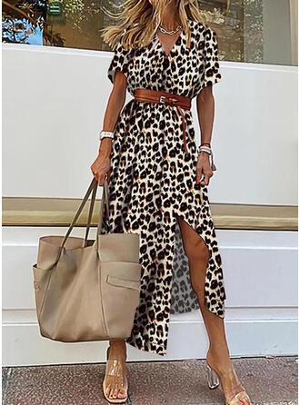 Leopardo Manga Curta Vestido linha-A Skatista Casual/férias Midi Vestidos
