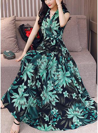 Print/Floral V-neck Maxi A-line Dress