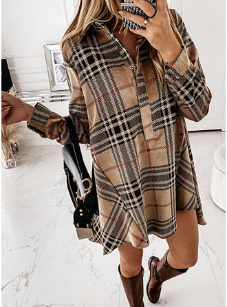 Plaid Lange Mouwen Shift Boven de knie Casual Shirt Jurken