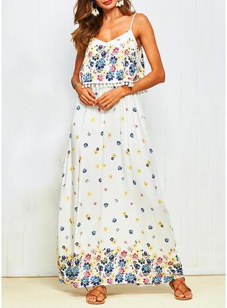 Print Bohemian Spaghetti Straps Maxi A-line Dress
