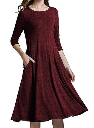 3/4 Sleeves A-line Knee Length Vintage/Casual Dresses