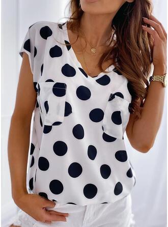 PolkaDot V-Neck Short Sleeves Casual T-shirts