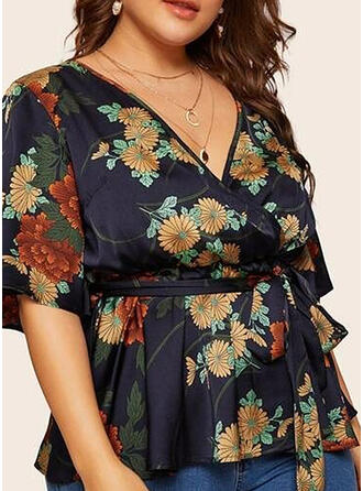Print Floral V-Neck 1/2 Sleeves Casual Elegant Plus Size Blouses