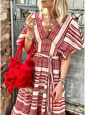 Print 1/2 Sleeves/Flare Sleeves A-line Casual/Boho/Vacation Midi Dresses