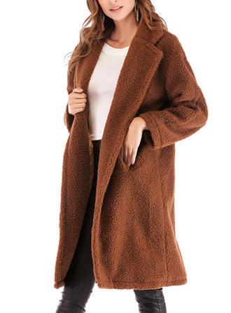 De laine Manches longues Couleur unie Manteaux en Laine