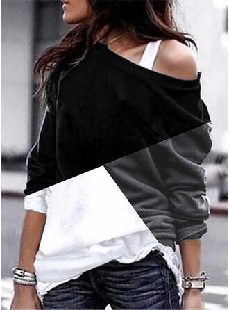 Color Block One-Shoulder Long Sleeves Casual T-shirt