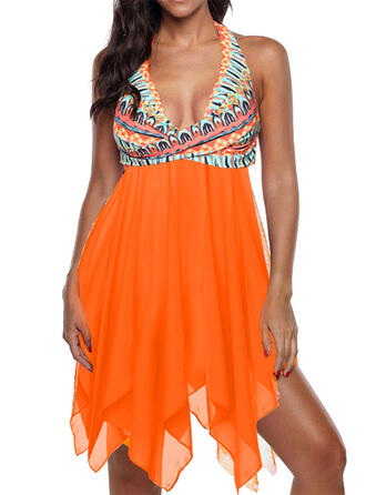 Print Strap V-Neck Vintage Plus Size Boho Swimdresses Swimsuits