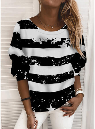 Print Round Neck Long Sleeves Sweatshirt (1001316500)