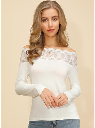 Solid Lace Off the Shoulder Long Sleeves Casual Sexy Knit Blouses