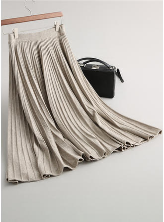 Knitting Plain Maxi Pleated Skirts