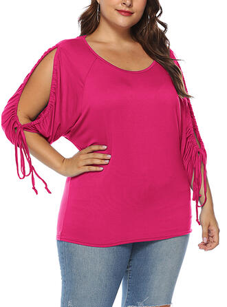 Solid Round Neck 3/4 Sleeves Plus Size T-shirts