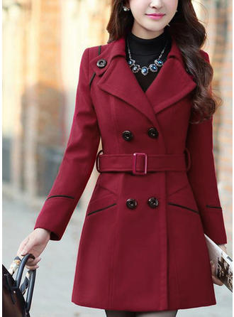 Polyester Long Sleeves Plain Wool Coats