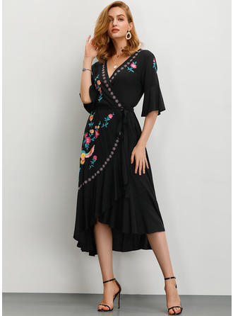 Print/Floral 1/2 Sleeves A-line Asymmetrical Casual/Elegant Dresses