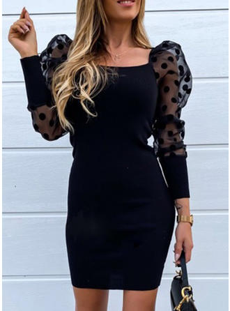 Solid/PolkaDot Long Sleeves Sheath Above Knee Little Black/Casual Dresses