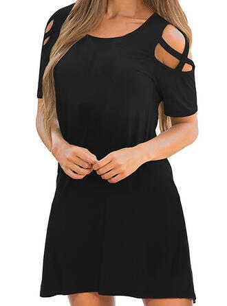 Solid Short Sleeves Shift Above Knee Little Black/Casual Dresses
