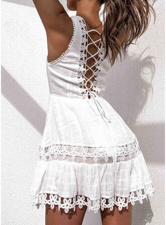 Lace Sleeveless A-line Above Knee Casual/Vacation Skater Dresses