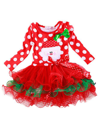 Girls Round Neck Polka Dot Lace Party Christmas Dress