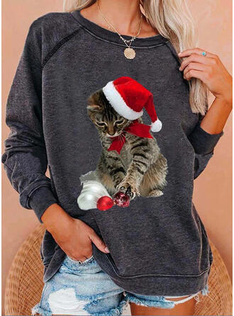 Animal Print Round Neck Long Sleeves Christmas Sweatshirt