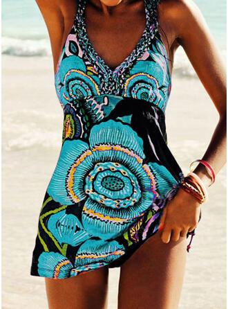 Floral Print Strap V-Neck Vintage Plus Size Boho Swimdresses Swimsuits