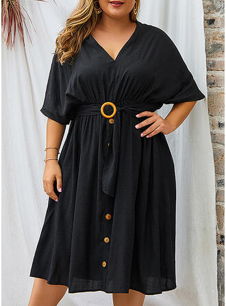 Solid 1/2 Sleeves/Batwing Sleeves A-line Little Black/Casual/Elegant/Plus Size Midi Dresses
