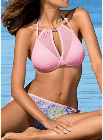 Imprimé Faire monter Dos Nu Col Rond Sexy Bikinis Maillots De Bain