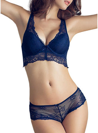 Polyester Lace Plain Lingerie Set