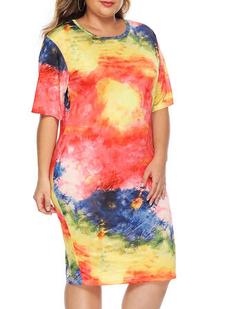 Print 1/2 Sleeves Bodycon Knee Length Casual/Vacation/Plus Size Dresses