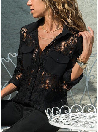 Lace Lapel Long Sleeves Button Up Casual Elegant Shirt Blouses