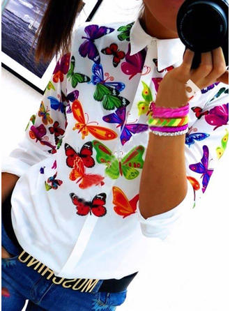 Polyester Lapel Print Long Sleeves Shirt Blouses