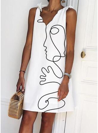 印刷 ノースリーブ シフトドレス 膝上 カジュアル/休暇 ドレス