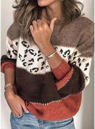 Drucken Geblockte Farben Rundhalsausschnitt Pullover
