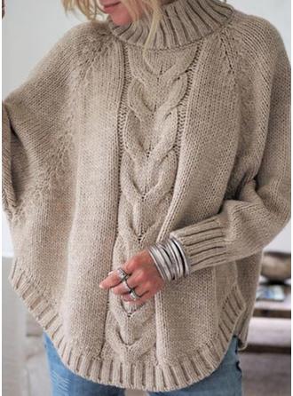 polyester Polotröja Vaffel Sticka Klumpig stickning Tröjor