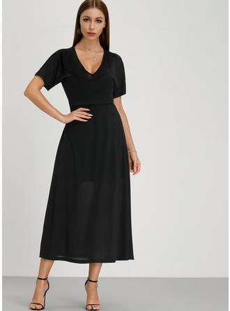 Solid Short Sleeves A-line Midi Little Black/Casual/Elegant Dresses