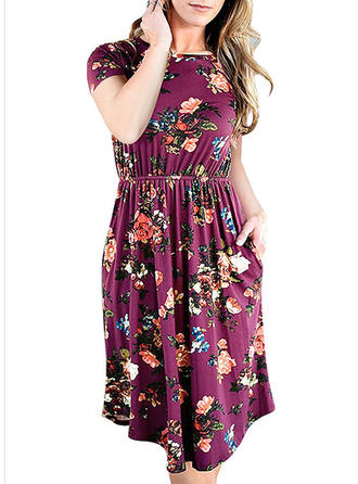 Print/Floral Short Sleeves A-line Knee Length Casual Dresses