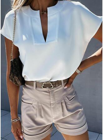 Jednolity Dekolt w kształcie litery V Krótkie rękawy Casual Podstawowe Bluzki