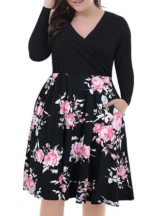 Print/Floral Long Sleeves A-line Above Knee Casual/Plus Size Dresses