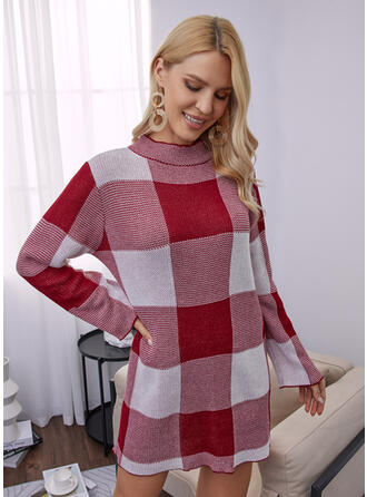 Color Block Ronde Hals Casual Sweaterjurk