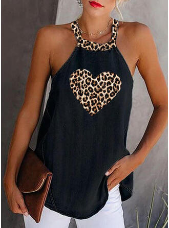 Print Leopard Round Neck Sleeveless Casual Tank Tops