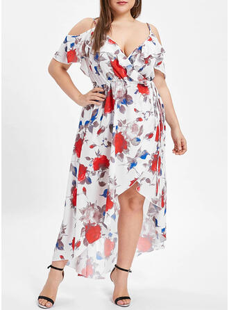 Print/Floral Short Sleeves/Cold Shoulder Sleeve A-line Asymmetrical Party/Elegant/Vacation/Plus Size Dresses