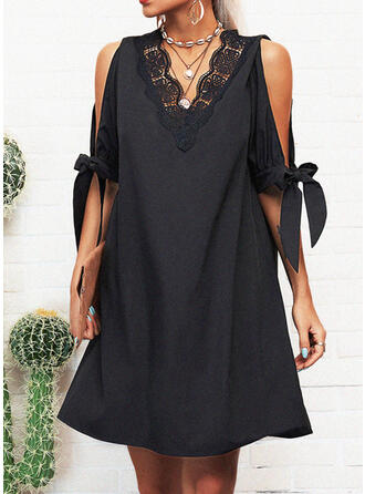 Lace/Solid 1/2 Sleeves/Split Sleeve Shift Above Knee Little Black/Casual Tunic Dresses